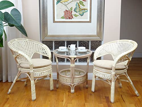 Pelangi Lounge Chair Natural Rattan Wicker Handmade Design with Thick Cream Cushion, Cream