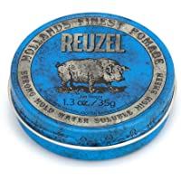 Reuzel - Blue Strong Hold Water Soluble Pomade For Men - High Shine & Gloss - Maintains Pliability - Non-Hardening - Non…