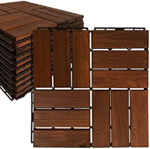 Mammoth Sustainably Sourced Solid Acacia Wood Oiled Finish Secure Interlocking Deck Tiles, Water Resistant Outdoor Patio Pavers or Composite Deck Flooring, Pack of 11 (11 SQFT) (Checker)