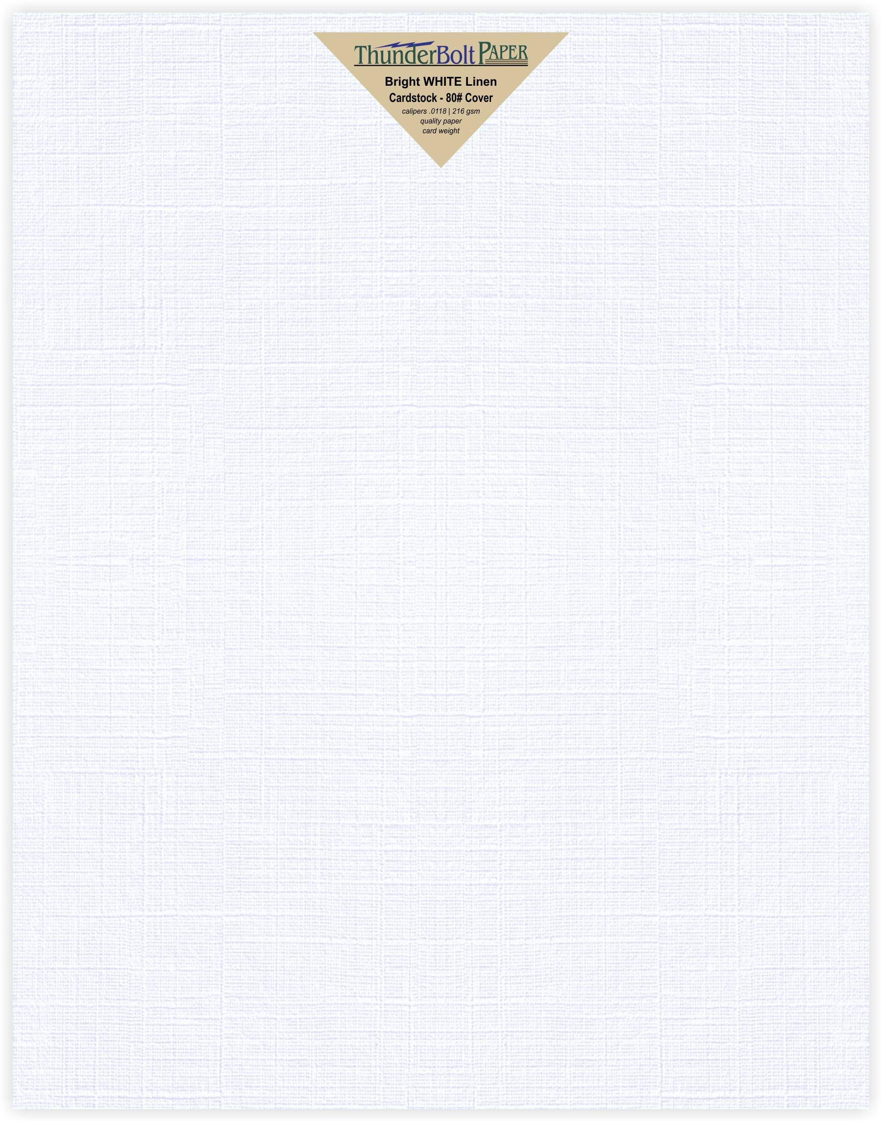 25 Bright White Linen 80# Cover Paper Sheets - 11'' X 14'' (11X14 Inches) Scrapbook Picture-Frame Size - 80 lb/pound Card Weight - Fine Linen Textured Finish Cardstock