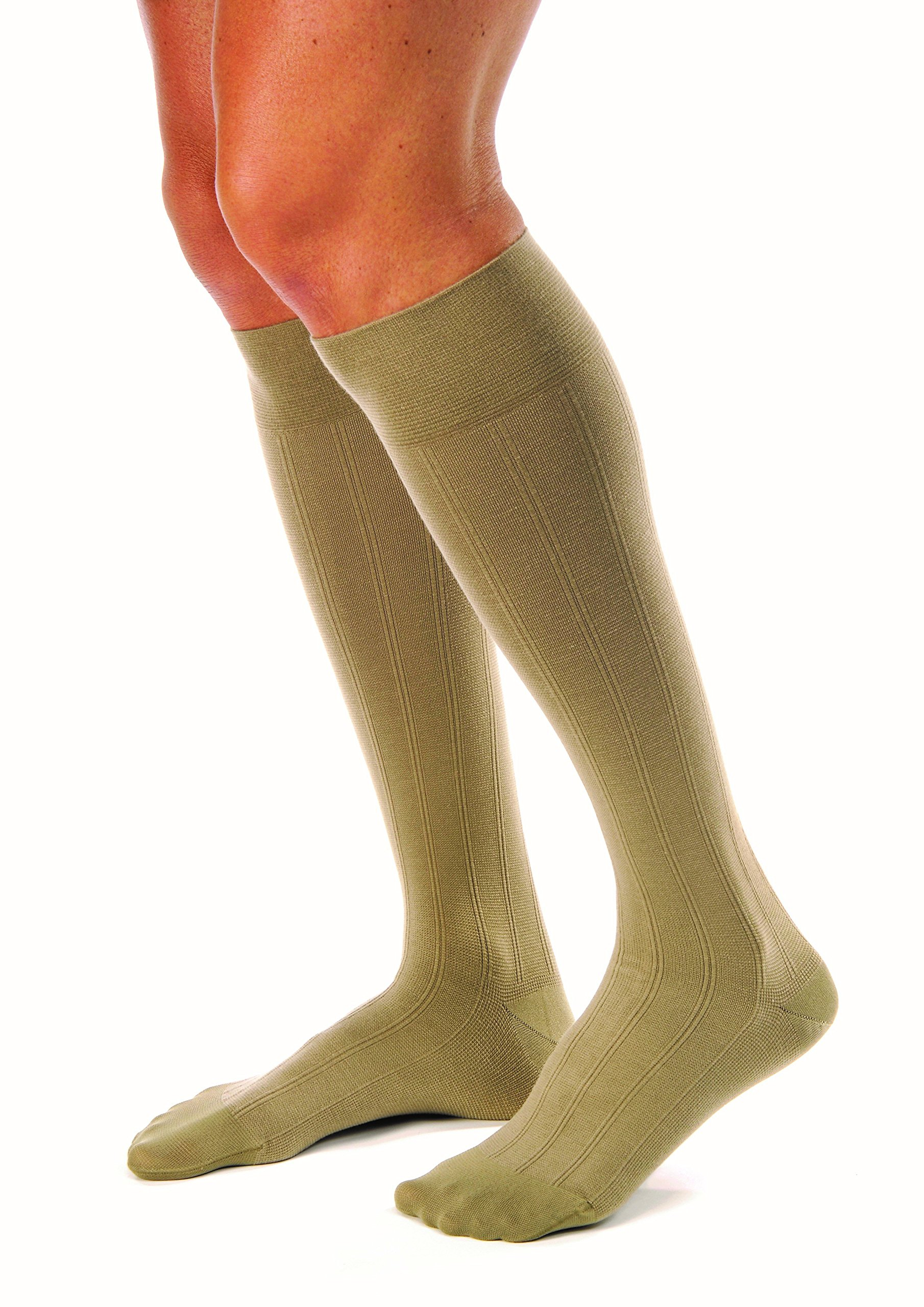 JOBST forMen Casual 20-30 mmHg Knee High Compression Socks, Khaki, Large Full Calf