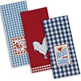 """DII Cotton Embroidered Dish Towels, 18x28"""" Set of 3, Oversized Decorative Kitchen Towels for Cooking and Baking-Rise N Shine"""