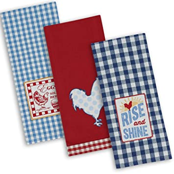 Dii Cotton Embroidered Dish Towels 18x28 Set Of 3 Oversized Decorative Kitchen Towels For Cooking And Baking Rise N Shine
