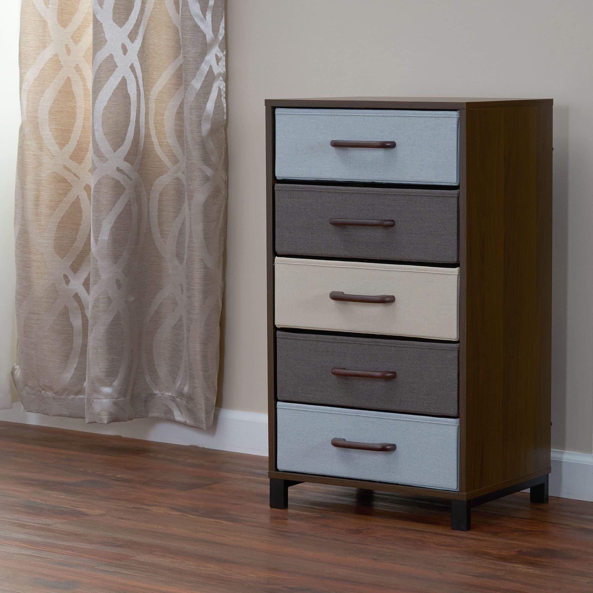 Household Essentials 8015-1 Wooden 5 Drawer Dresser   Storage Night Stand   Mahoganey by Household Essentials