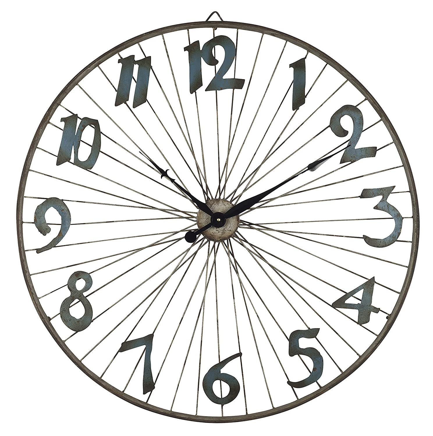 Lone Elm Studios 31.9 D Bicycle Wheel Clock Home Decor Brown The Gerson Company 92382 32InL x 32InW x 4.5InH