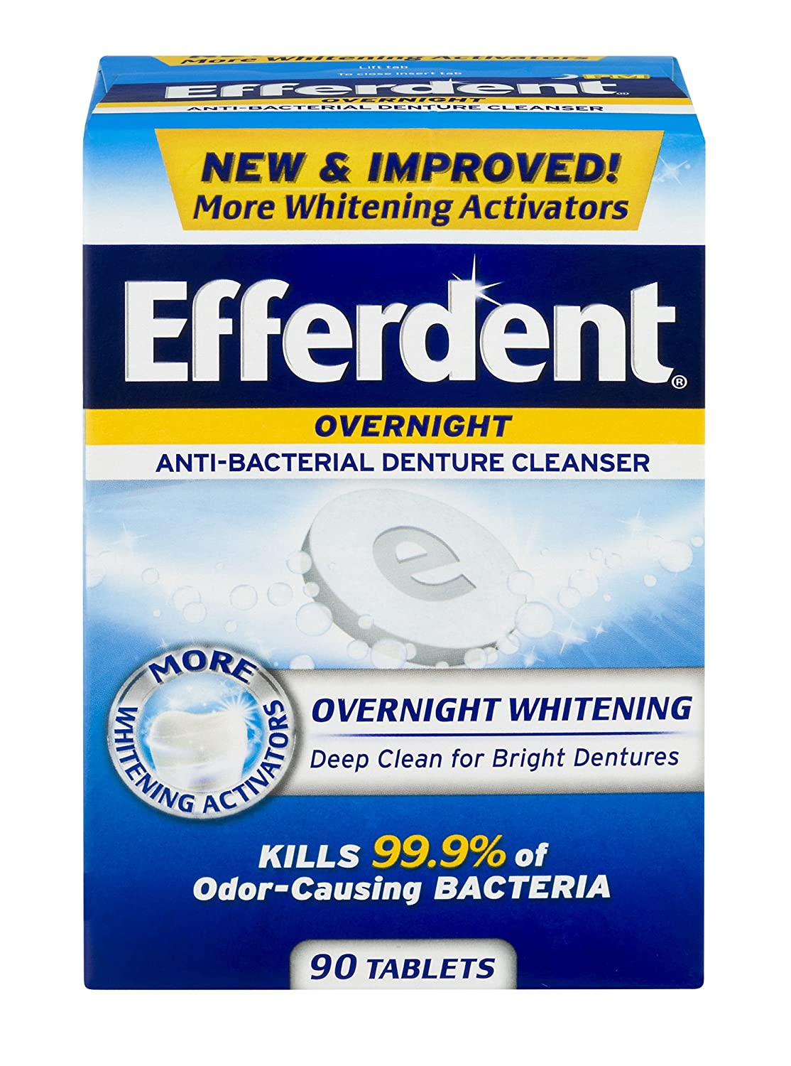 Efferdent PM Overnight Anti-Bacterial Denture Cleanser Tablets, 90 Count Medtech Product Inc.