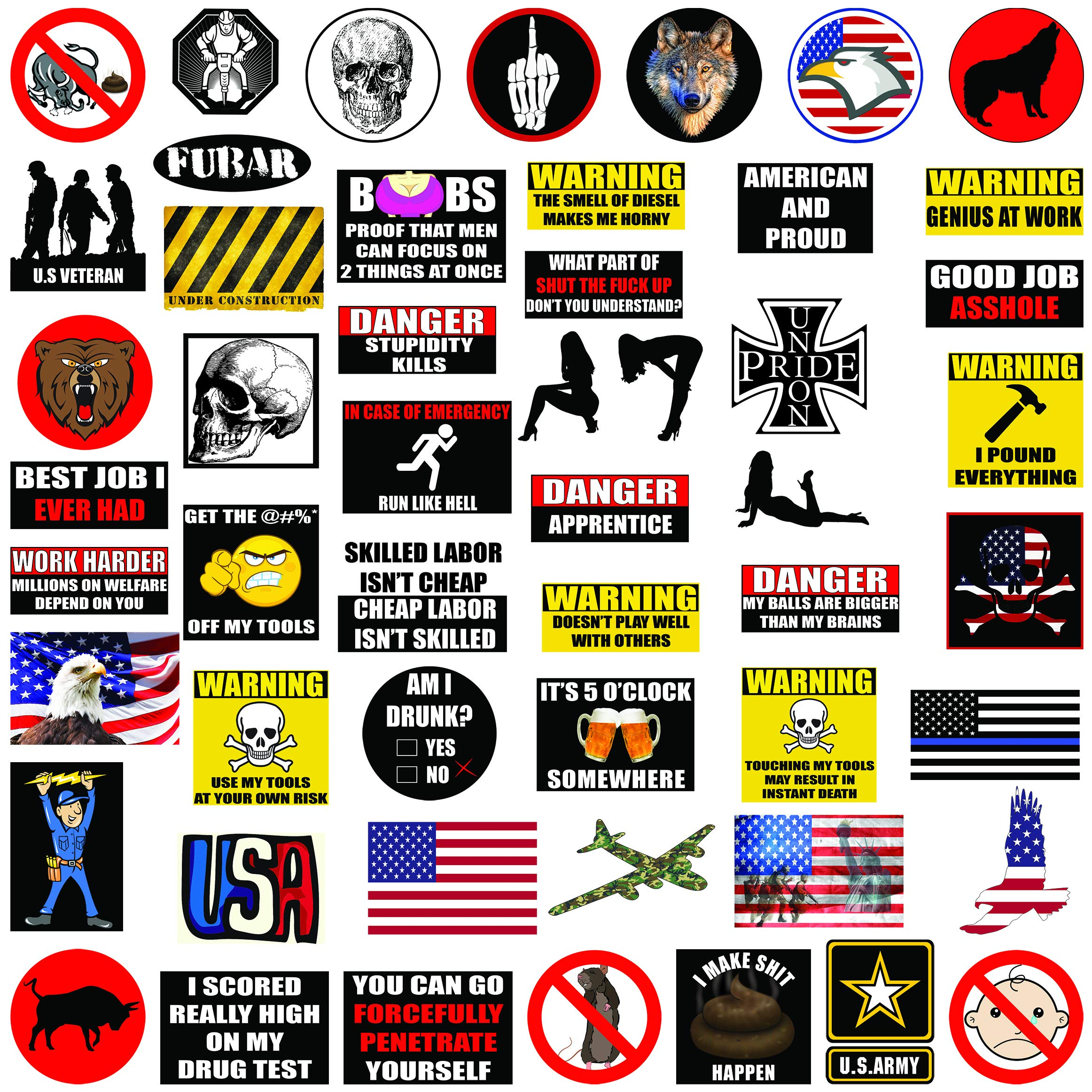 Hard Hat Stickers 50+ MEGA PACK, Tool Box Stickers and Decals, Funny Construction, Military, Veteran, Union, Patriotic USA Stickers, Make People Laugh at Work