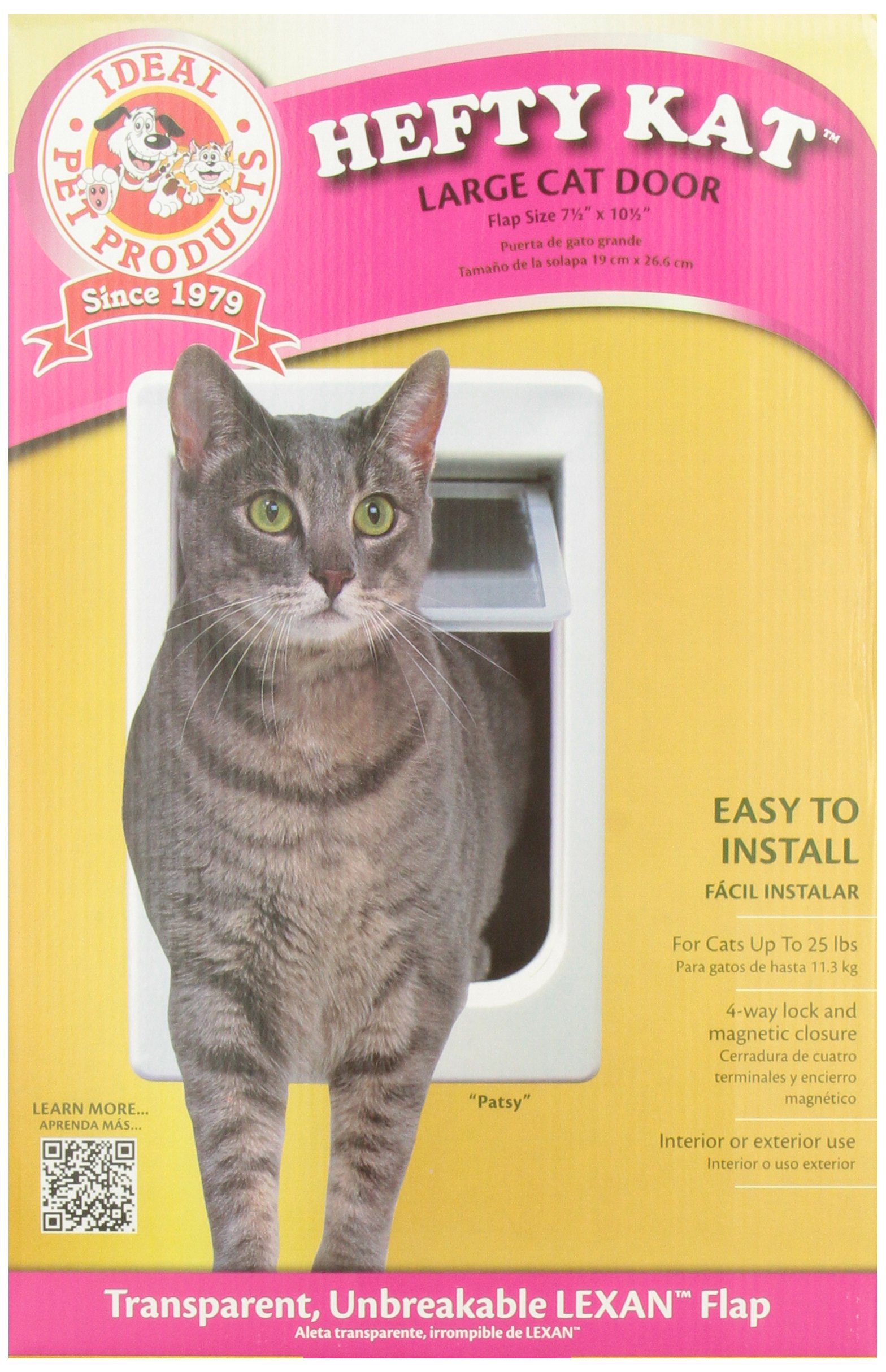 Ideal Pet Products Chubby Kat Cat Door with 4 Way Lock, 7.5'' x 10.5'' Unbreakable LEXAN Flap