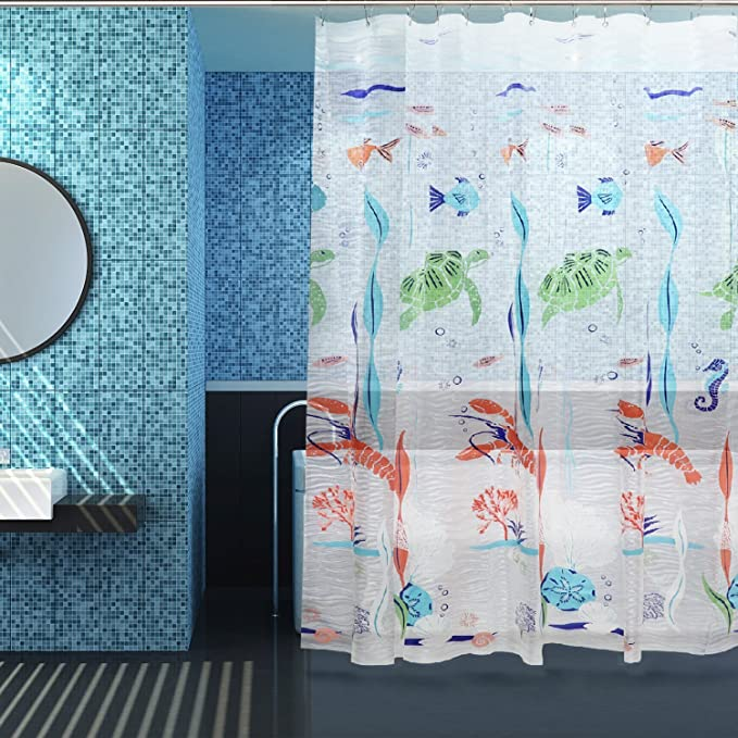 Kilokelvin Shower Curtain Semi-Transparent Mould Proof Resistant Shower Curtains, EVA Anti-Bacterial, Waterproof Lining for Bathroom with 12 Metal Hooks - 72'' x 72'' - Underwater world