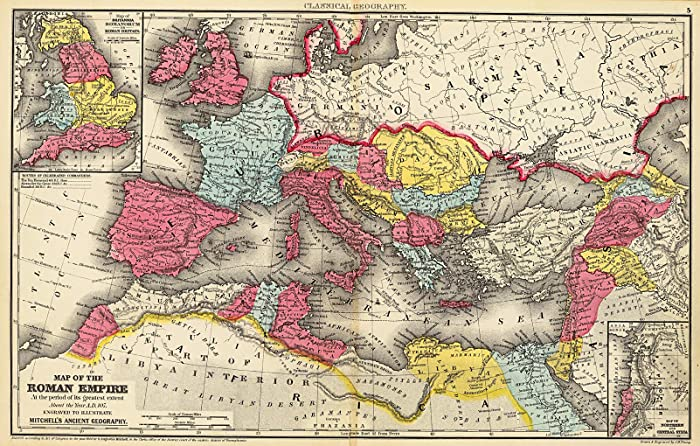 """Riley Creative Solutions ?? 1875 Map of The Roman Empire Ancient History Wall Art Poster Print Decor Artwork (16""""x25"""")"""