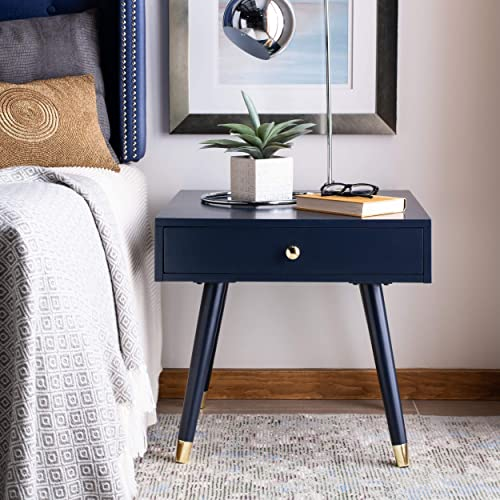 Safavieh Home Levinson Mid-Century Modern Navy and Gold Cap 1-drawer End Table