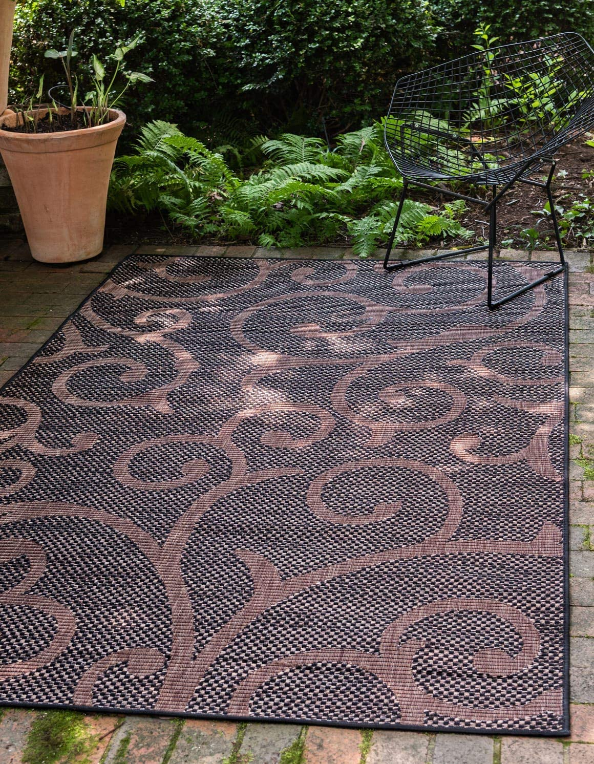 Unique Loom Outdoor Botanical Collection Abstract Swirls Transitional Indoor and Outdoor Flatweave Chocolate Brown Area Rug 9 0 x 12 0