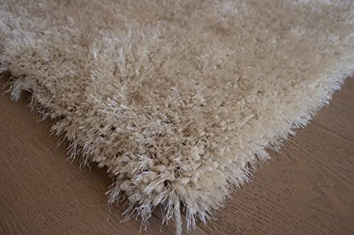 LA Romantic Shag Shaggy Solid Accent Furry Woven Contemporary Modern Furry Plush Fluffy 5-Feet-by-7-Feet Polyester Made Area Rug Carpet Rug Beige Color