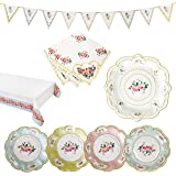 Talking Tables Truly Chintz Vintage Floral Party Bundle for a Garden Tea Party, Bridal Shower & Picnics   Paper Table Cover, Paper Plates, Napkins & Bunting