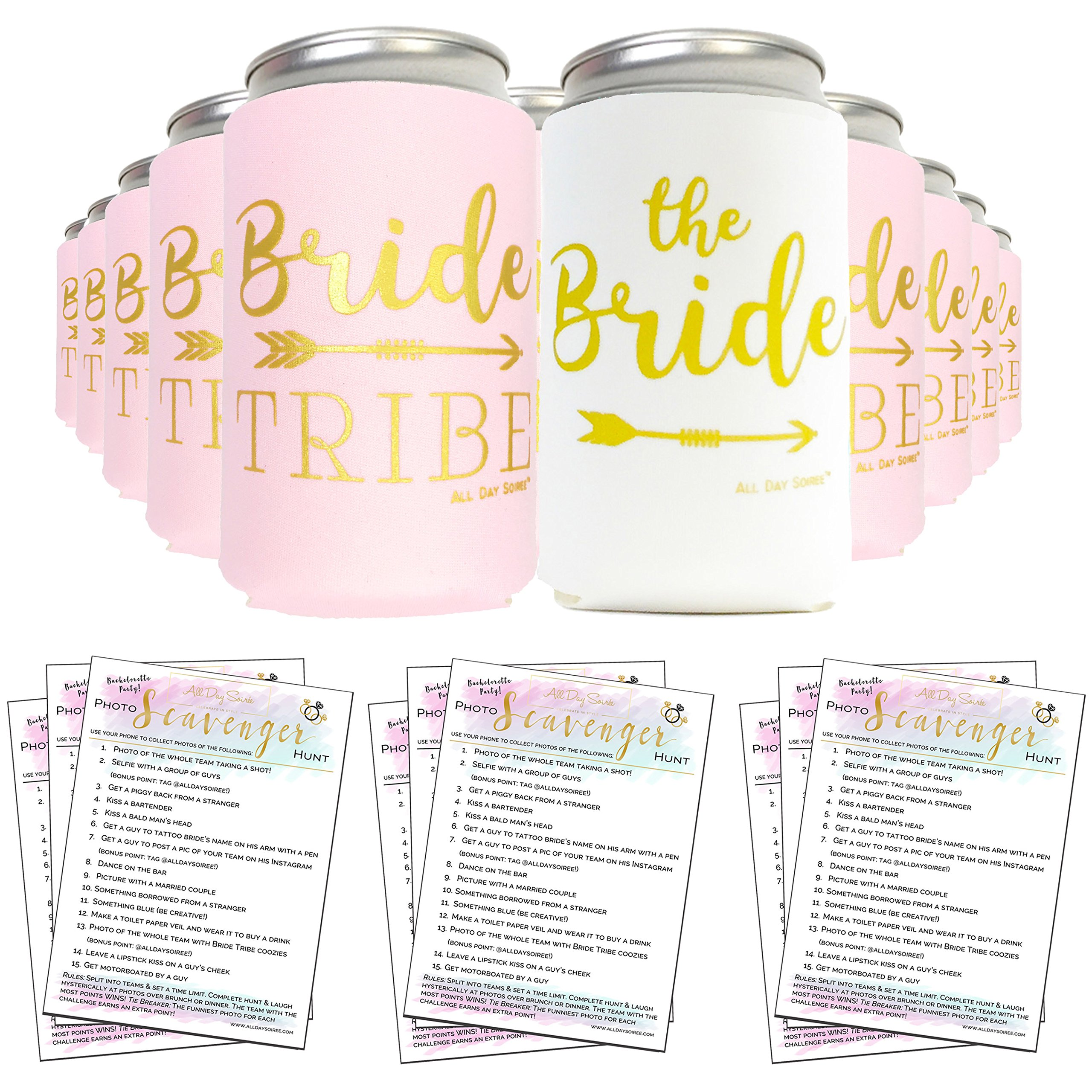 Bachelorette Party Decorations Bride to Be Favors Can Cooler Sleeves 11pcs + Bonus Fun Photo Game | Bridal Shower Gifts, Bride Tribe, Wedding, Props, Supplies |10 Mint Green/Pink & 1 White