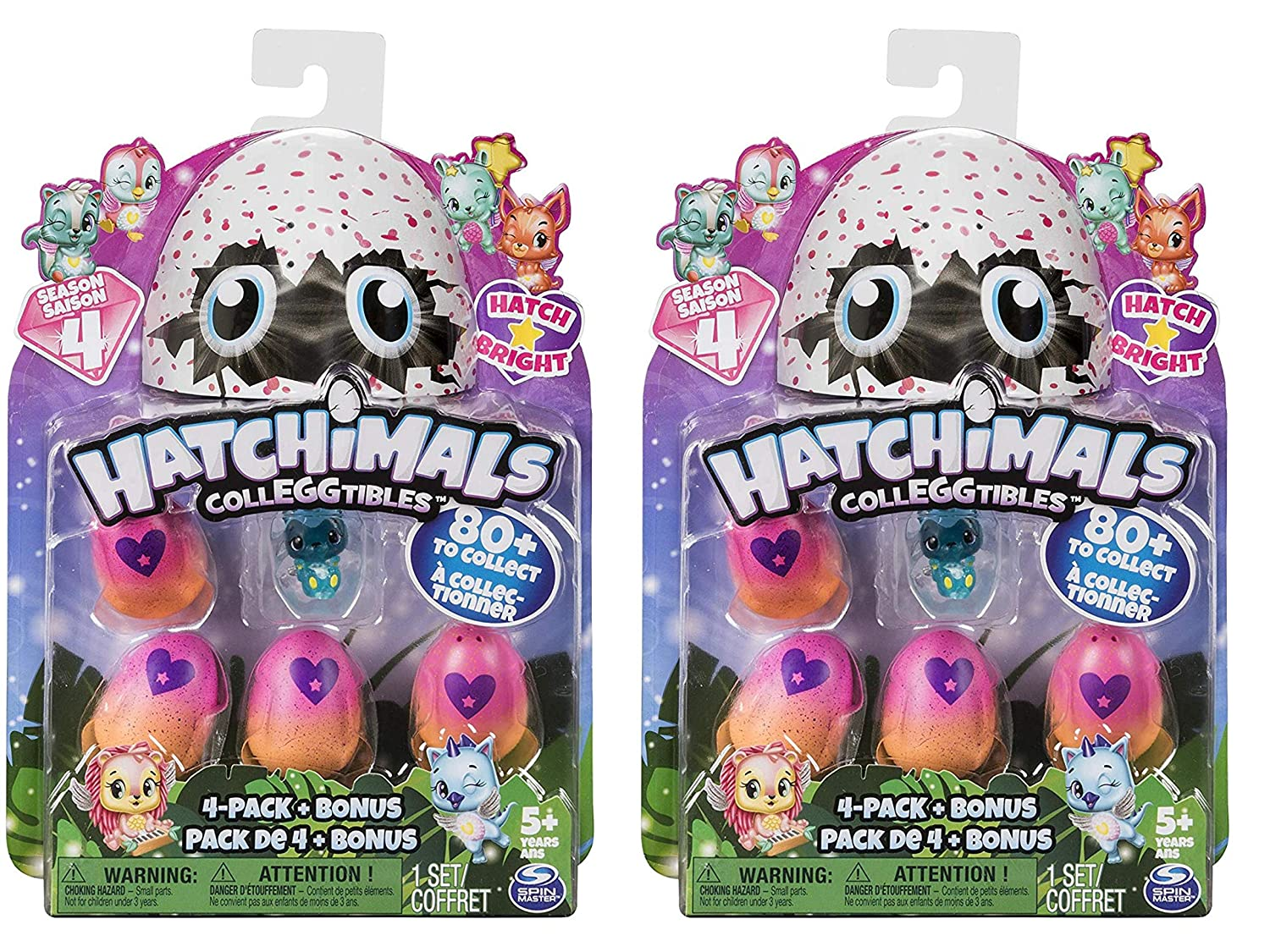 Glitter 2-Pack Collectible Playset Girls and Boys and Limited Edition Surprises Hatchimals CollEGGtibles Season 4 Kid/'s Toys Metallic Glow-in-The-Dark- Fuzzy