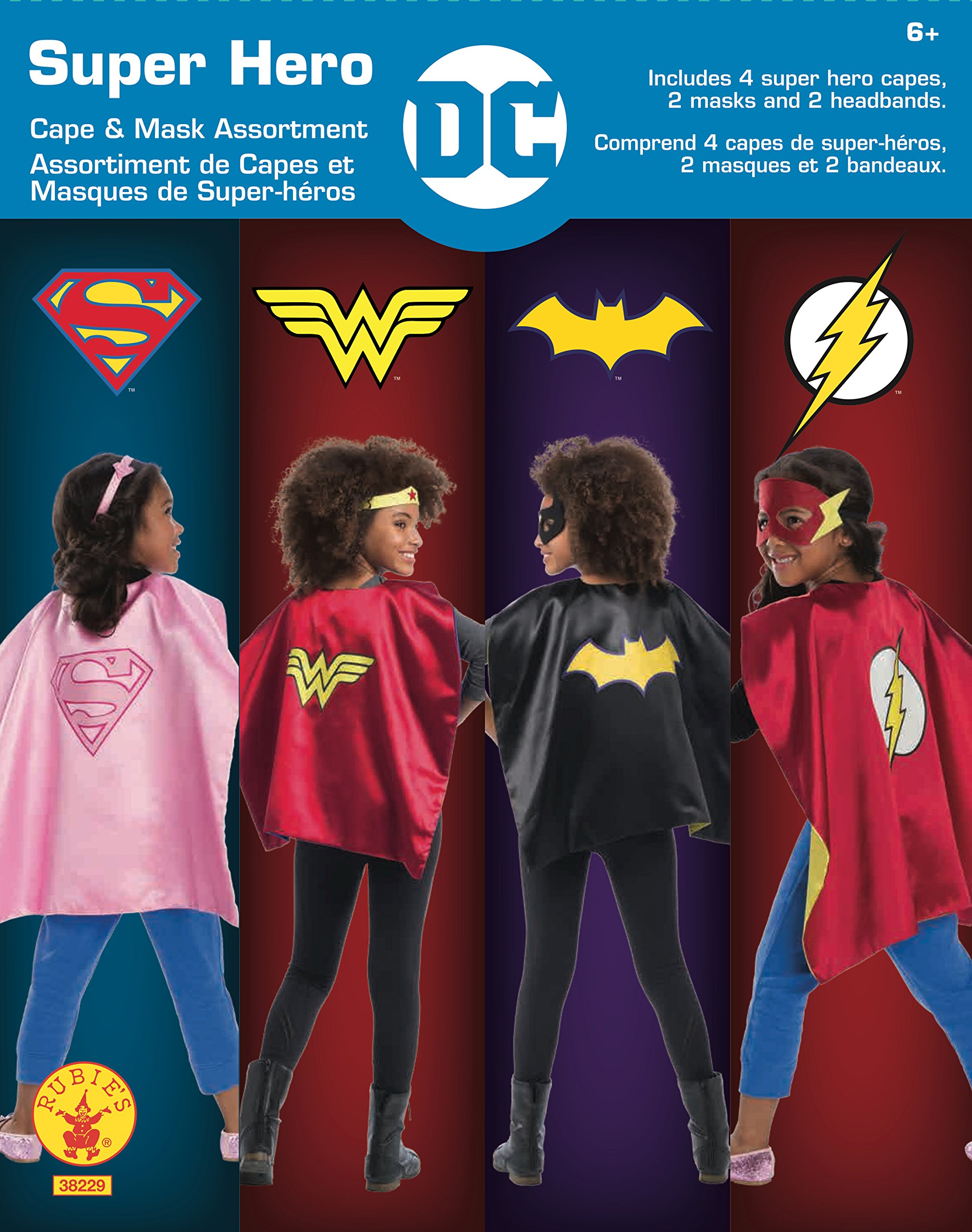 Rubie's Super Hero Cape Set Officially licensed DC Comics Assortment  4 Capes, 2 Masks, and 2 Headbands, One Size (Amazon Exclusive) by Rubie's (Image #2)