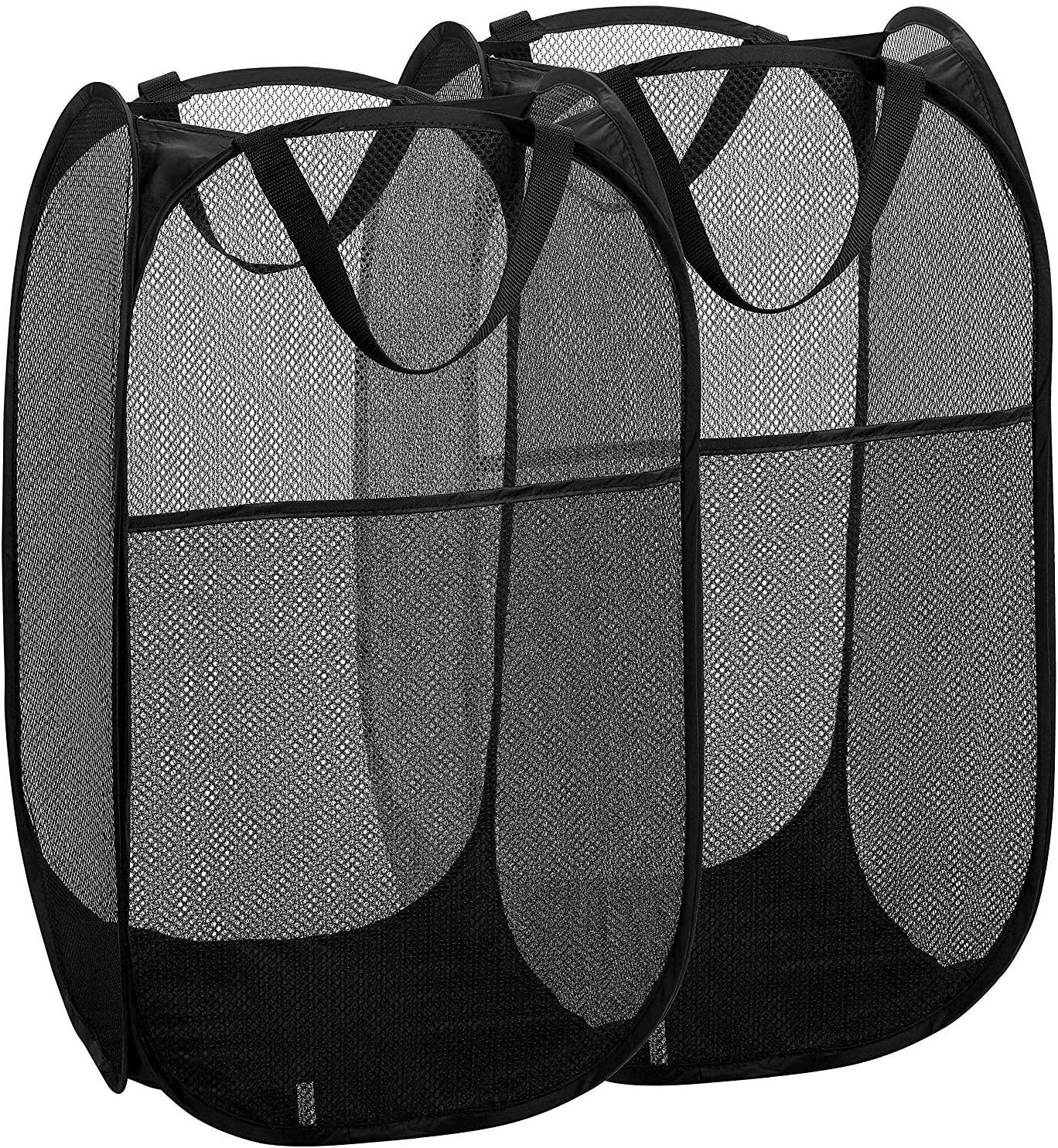 2 Packs Mesh Pop up Laundry Hamper (Black) with Portable, Durable Handles, Collapsible for Storage, Foldable Pop-Up Laundry Bags for Kids Room, College Dorm or Travel