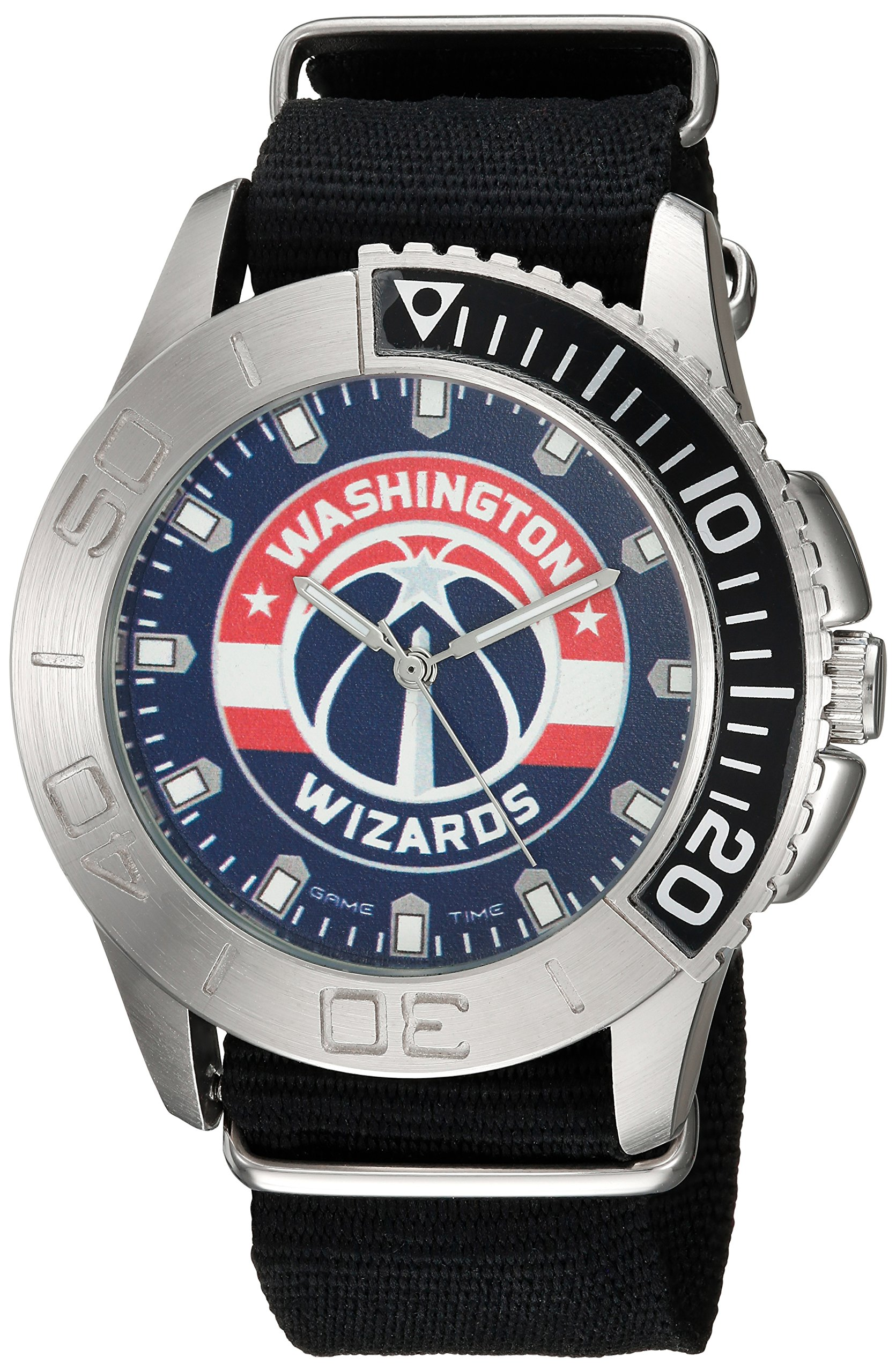 Game Time Men's 'Starter'  Metal and Nylon Quartz Analog Watch, Color:Black (Model: NBA-STA-WAS)