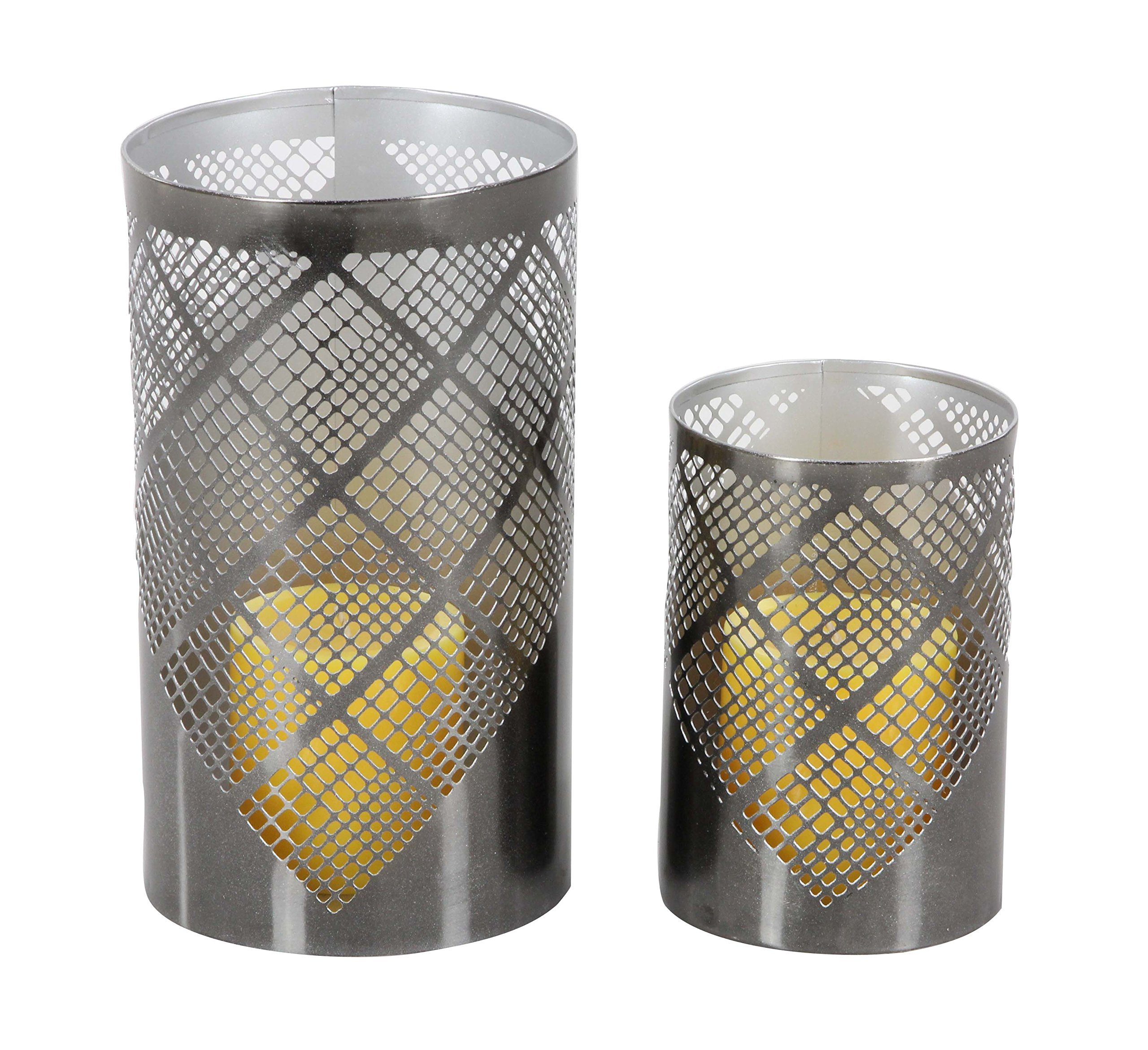 Deco 79 57362 Plaid Pattern Cylindrical Iron Candle Holders, 6'' x 9'', Gray by Deco 79