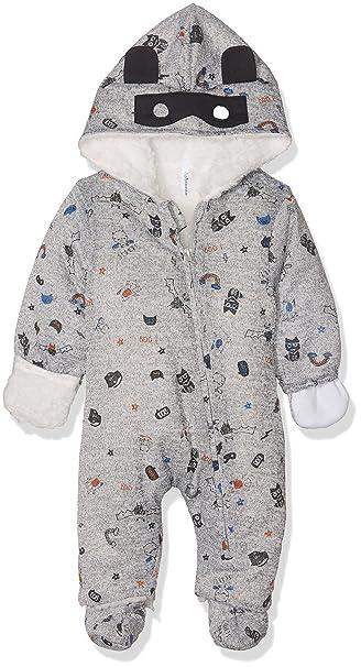 b31fce9d8 3 Pommes Baby Boys Sweet Monster Round Collar Long Sleeve Snowsuit, Grey  (Grey Chine