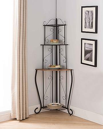Kings Brand Furniture Black / Walnut Kitchen Storage Corner Bakers Rack