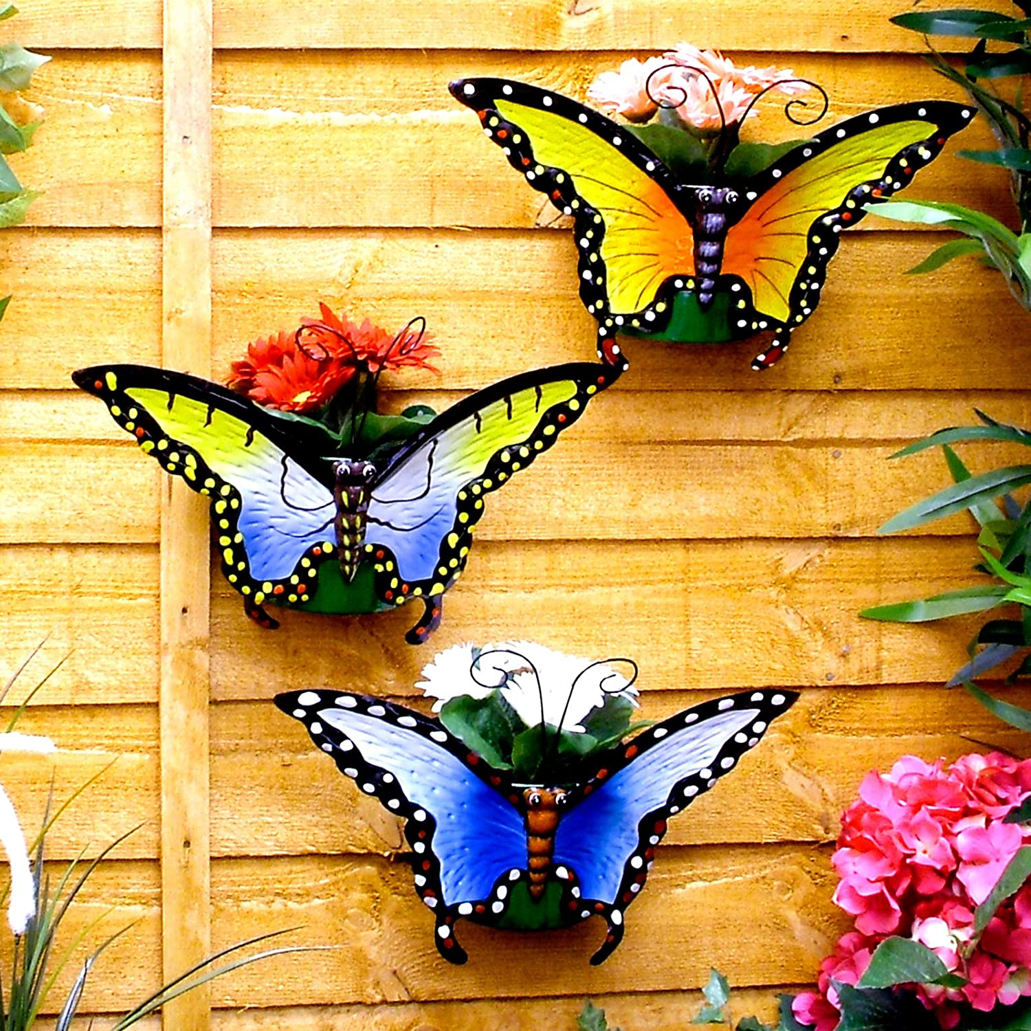 Great Ideas Butterfly Wall Planters - Set of 3 - Flower Pots For ...