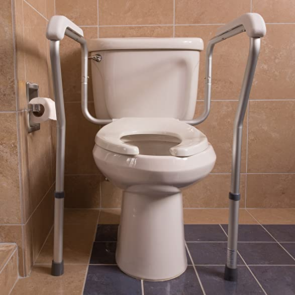 Amazon.com: HealthSmart Adjustable Germ Free Toilet Safety Rails ...