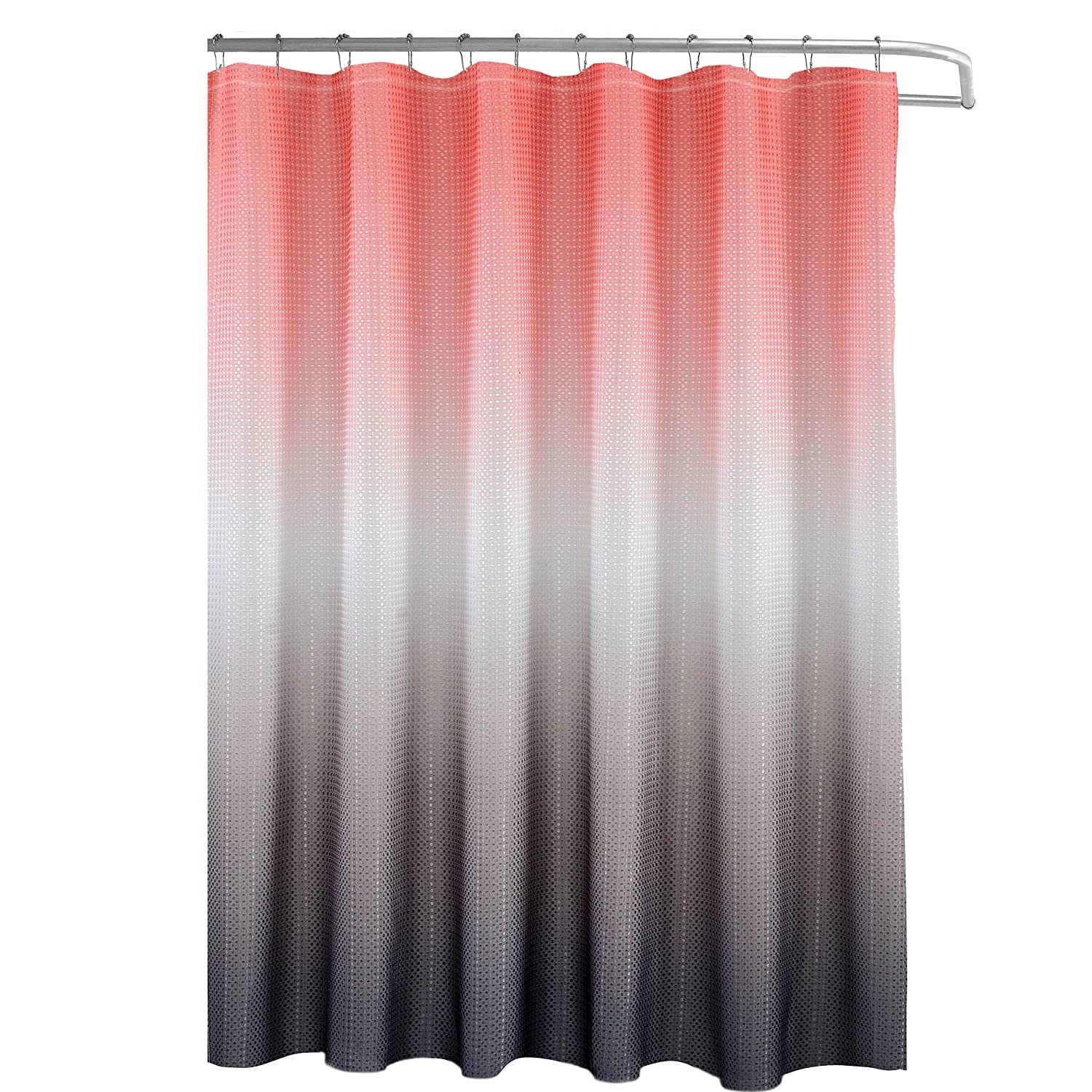 Amazon.com: Creative Home Ideas Ombre Waffle Weave Shower Curtain Set, Coral/Grey: Home & Kitchen