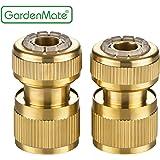 """GardenMate® 13mm (1/2"""") MESSING Schlauchverbinder Schlauchstück und Wasserstop Set"""