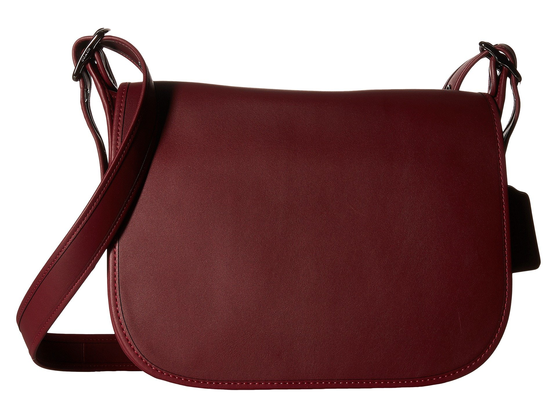 COACH Women's Gloveton Leather Saddle Bag DK/Burgundy Cross Body
