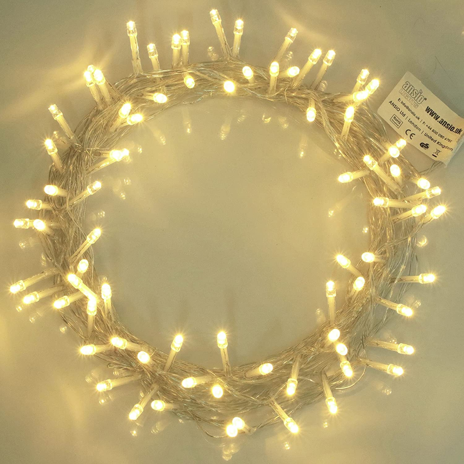 Fairy Lights 100 LED Warm White String Lights 10m of Clear Cable ...