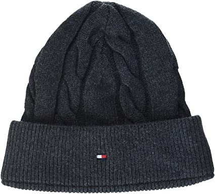 a44da6766 Tommy Hilfiger Men's Tommy Cable Beanie, Grey (Charcoal HTR 051 ...