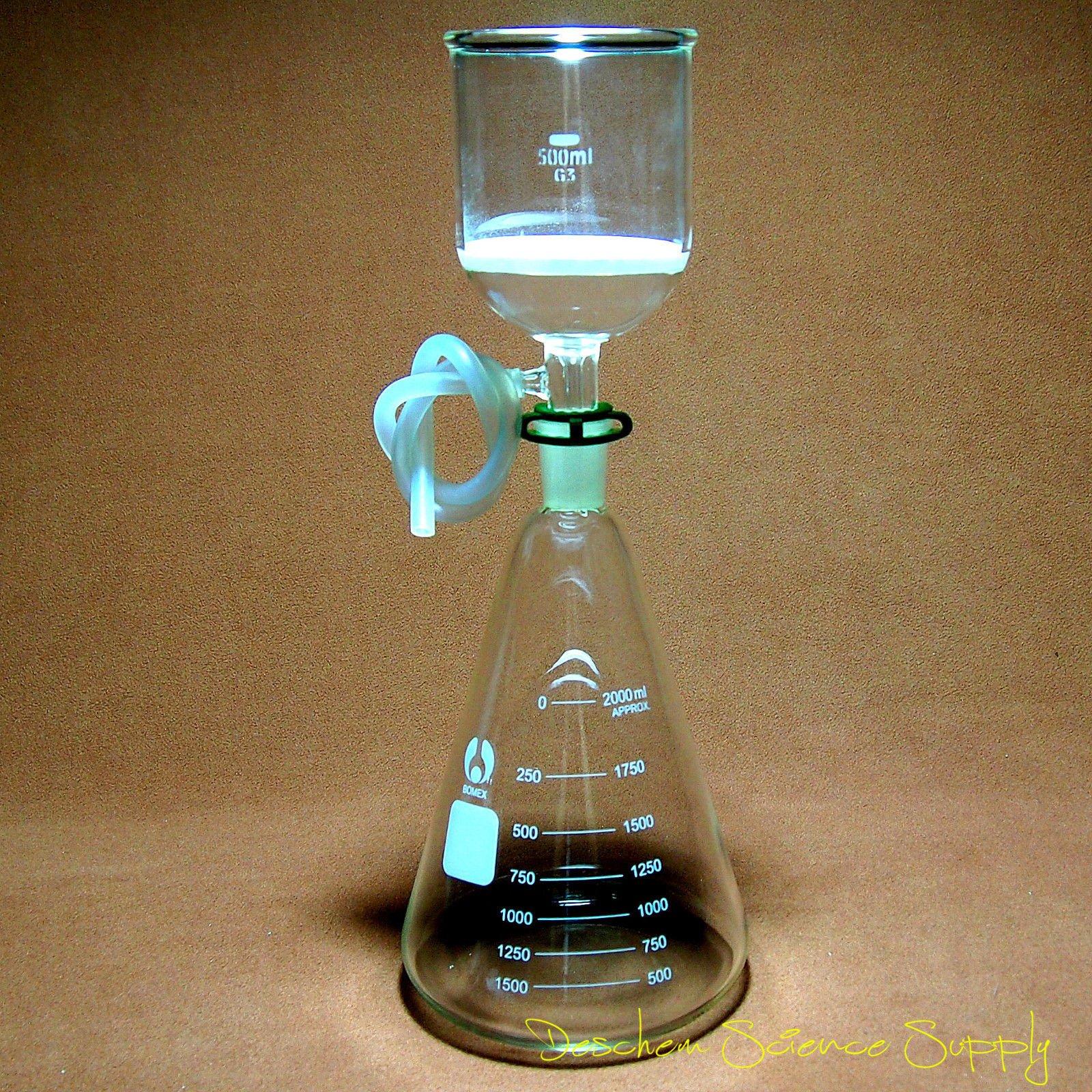 Deschem 2000ml,24/40,Glass Suction Filtration Kit,500ml Buchner Funnel & 2L Erlenmeyer Flask