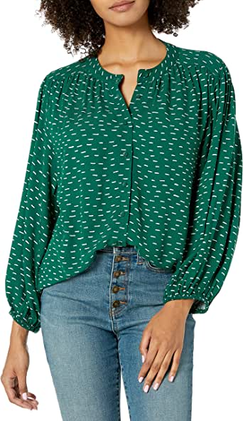 Goodthreads Amazon Brand Women's Fluid Twill Volume-Sleeve Poet Shirt