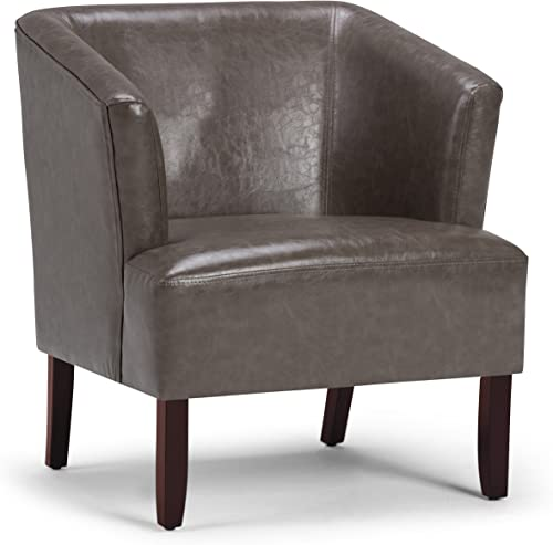 Simpli Home Longford 29 inch Wide Mid Century Modern Tub Chair in Elephant Grey Bonded Leather