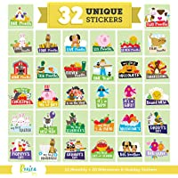Massive Pack of 32 Baby Stickers, 12 Baby Monthly Stickers, 20 Popular Milestones Baby Stickers, Record Your Baby's…