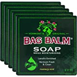 Vermont's Original Bag Balm Mega Moisturizing Soap, 5 Bars, Lanolin Enriched Rosemary Mint Scented Moisturizing Soap, Great for Daily Use to Care for Dry Skin