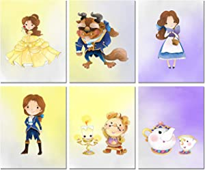 Beauty and The Beast Prints - Set of 6 (8 inches by 10 inches) Original Watercolor Kids Bedroom Nursery Wall Art Decor 8x10 Photos Belle Prince Beast Cogsworth Lumiere Mrs Potts Chip
