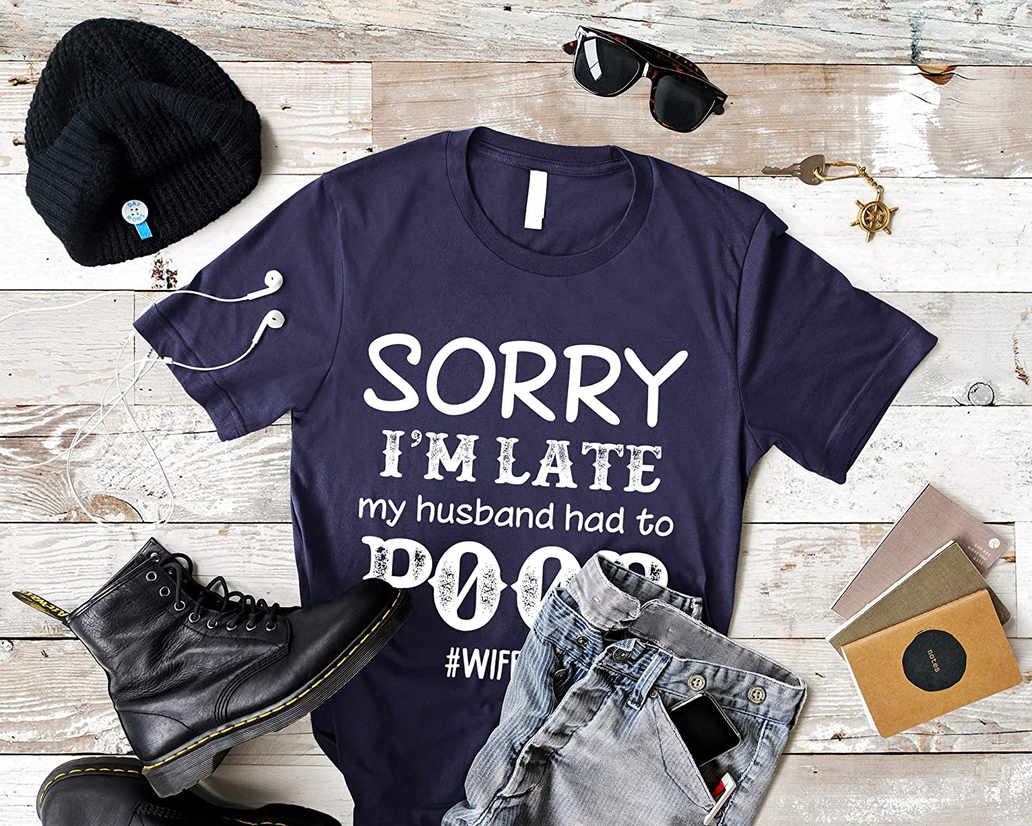 Firever Matching T-Shirt for Wife Sorry Im Late My Husband Had to Poop Women