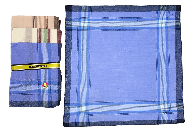 Men's handkerchiefs 40 cm x 40 cm, 100% cotton, 3 colours, stripe pattern, 12 pieces ilkadim
