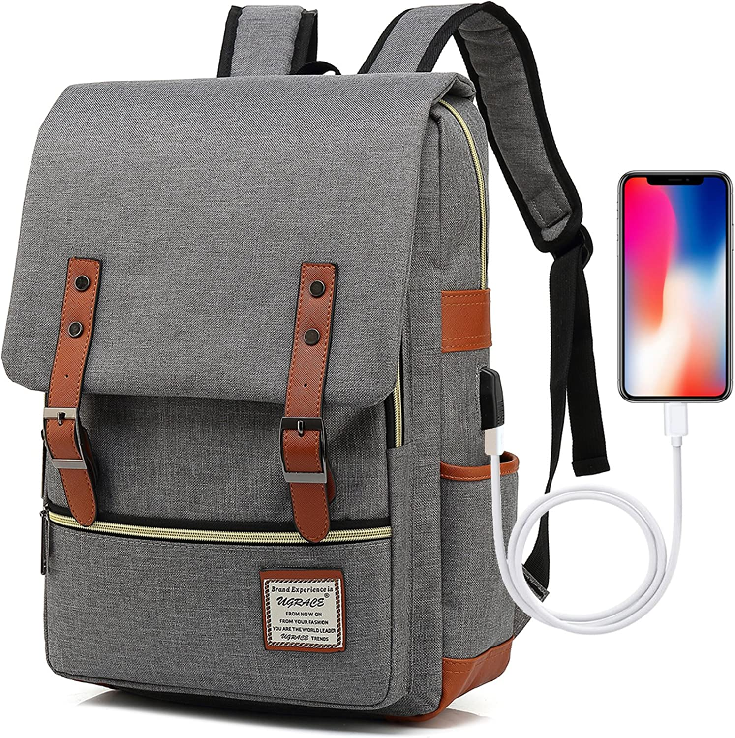 UGRACE Vintage Laptop Backpack Slim School Bag Travelling Backpacks with USB Charging Port for Men Women