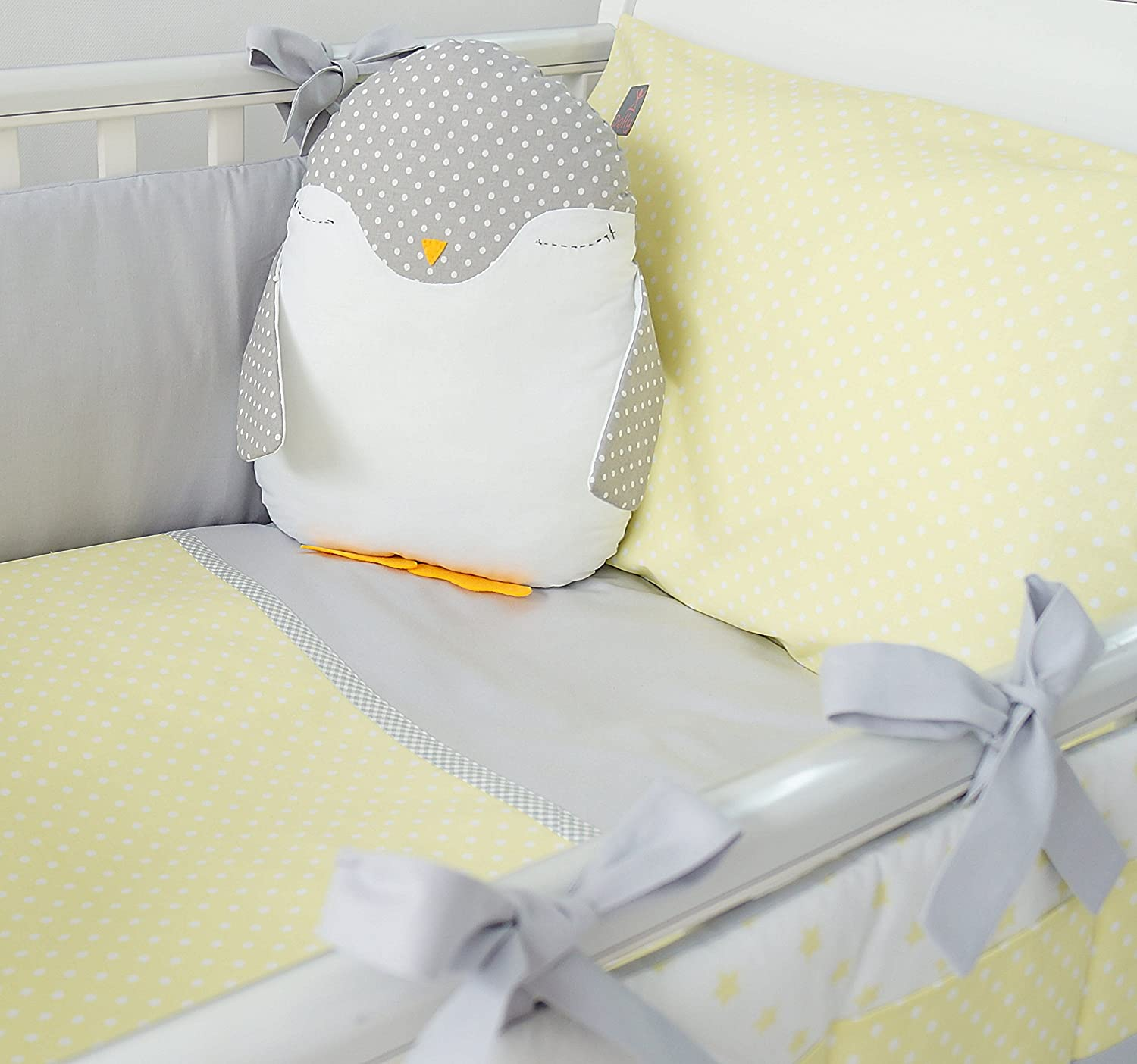 **NEW EXCLUSIVE & LUXURY BABY BEDDING SET - LEMON & WHITE POLKA DOT + GREY - DUVET, PILLOW, DUVET COVER, PILLOWCASE, BUMPER, COT TIDY + DECORATIVE CUSHION IN THE SHAPE OF PENGUIN to FIT COT OR COT BED (please see dimensions in description) DOLLY