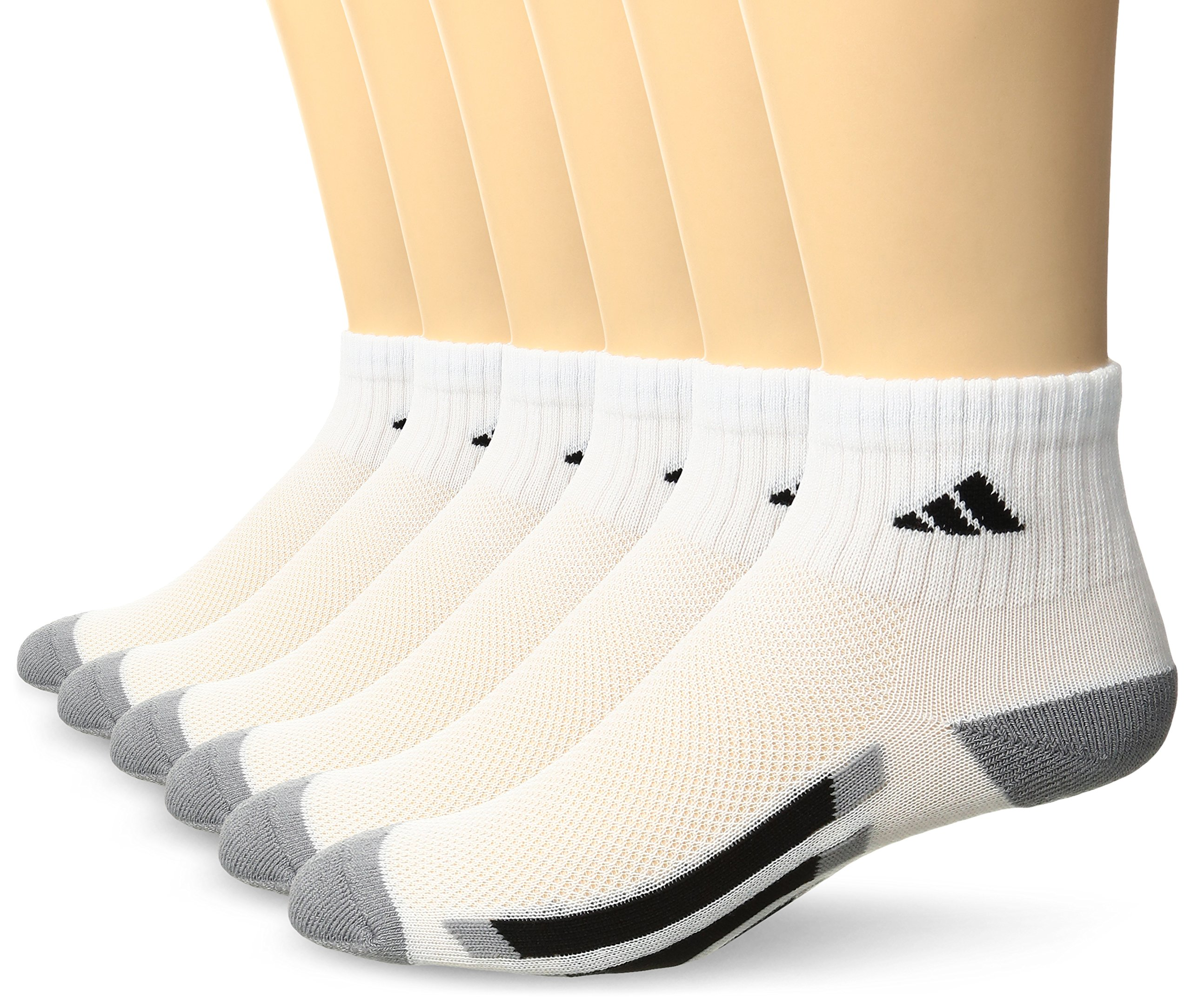 adidas Kids' - Boys/Girls Cushioned Quarter Socks (6-Pair), White/Black/Light Onyx, Large