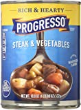 Progresso Soup, Rich & Hearty, Steak and Vegetable Soup, 18.8 oz Cans (Pack of 12)