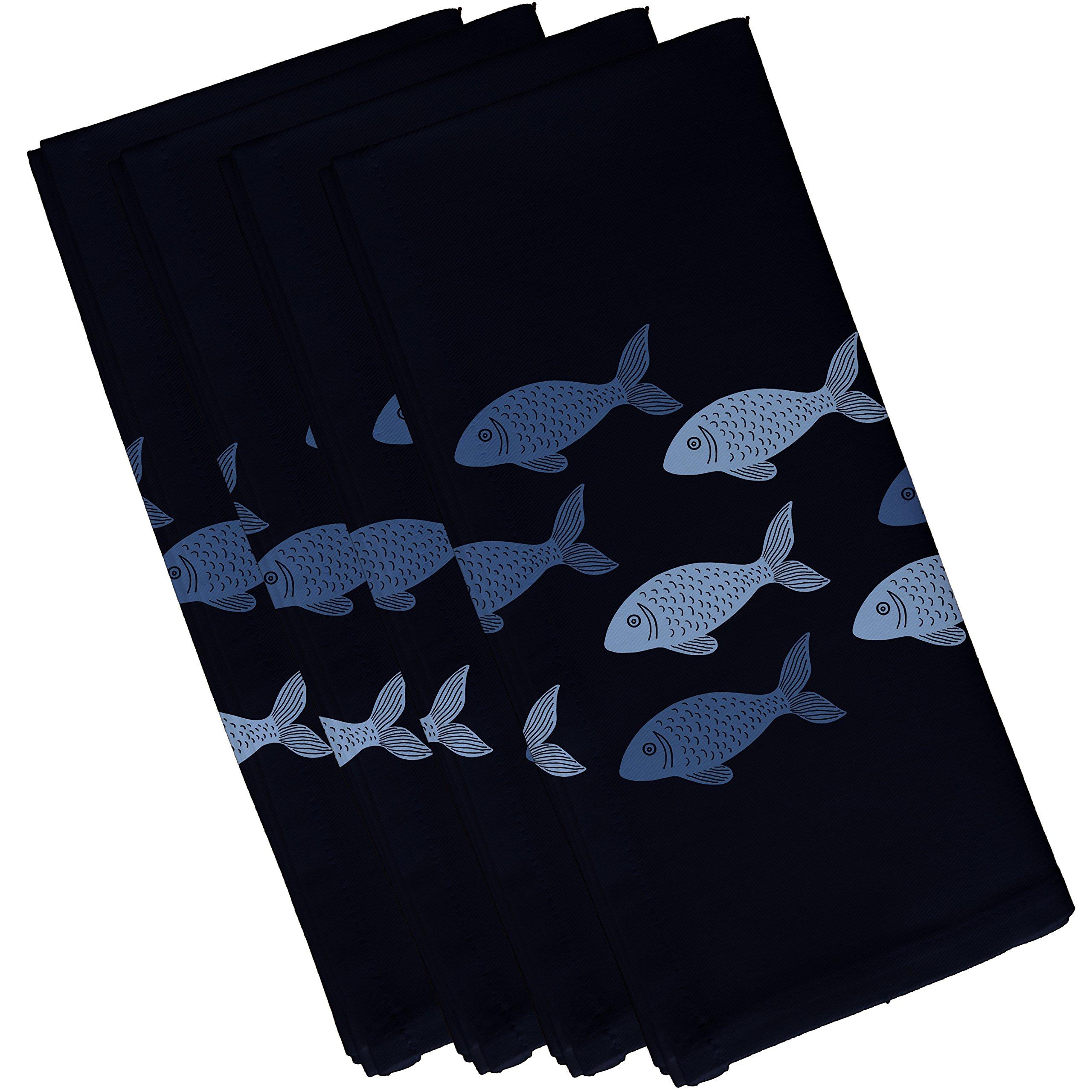 E by design Fish Line, Animal Print Napkin, 19 x 19'', Navy Blue