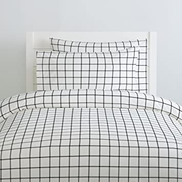 9fbfbcfca0 Carousel Designs Onyx Windowpane Duvet Cover Twin Size - Organic 100%  Cotton Duvet Cover -