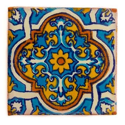 5 cm fait /à la main et /éthiquement n/égoci/é par Tumia LAC Carrelage en c/éramique mexicaine Tuile unique