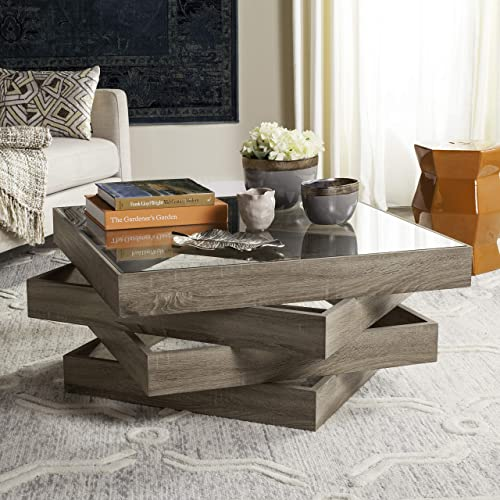 Safavieh Home Collection Anwen Mid-Century Geometric Light Oak and Brown Wood Coffee Table
