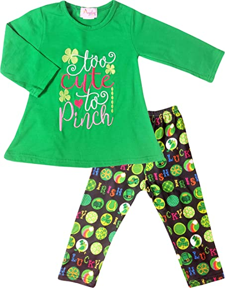 7c29e87b72057 Angeline Baby Girls St Patrick's Day Lucky Shamrock Too Cute to Pinch  Ruffles Top Legging Set